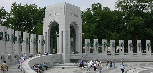 The Pacific side of the World War II Memorial in Washington DC